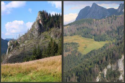 dwie pionowe fotografie krajobrazu tatrzańskiego