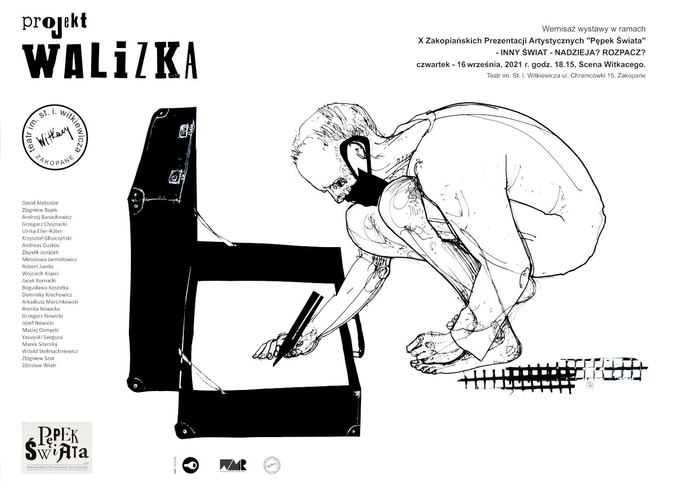 czarno biała grafika promująca projekt walizka. W centralnej części nagi mężczyzna w maseczce kuca przed otwartą walizką i coś w niej pisze/maluje. Po lewej stronie wymienione są nazwiska osób tworzących projekt.